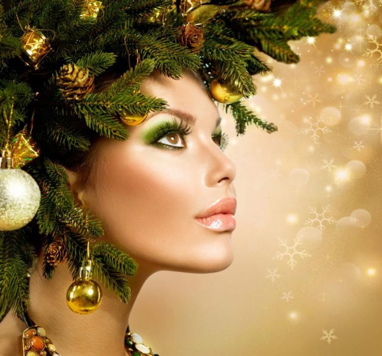 Новогодняя прическа с макияжем